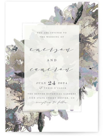 This is a portrait botanical, painterly, traditional, purple Wedding Invitations by Grace Kreinbrink called Gilded Drape with Foil Pressed printing on Signature in Classic Flat Card format. Hand painted watercolor wedding invitation featuring modern florals and gilded accents.