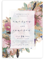 This is a blue foil stamped wedding invitation by Grace Kreinbrink called Gilded Drape with foil-pressed printing on signature in standard.