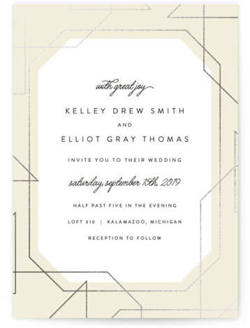 This is a portrait bold typographic, funny, modern, beige, silver Wedding Invitations by carly reed walker called Garbo with Foil Pressed printing on Signature in Classic Flat Card format. Super modern foil border with classic typography