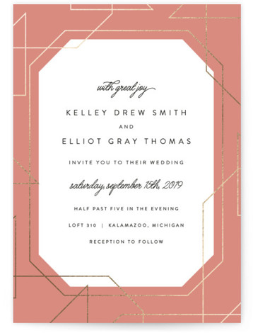 This is a portrait bold typographic, funny, modern, pink, gold Wedding Invitations by carly reed walker called Garbo with Foil Pressed printing on Signature in Classic Flat Card format. Super modern foil border with classic typography