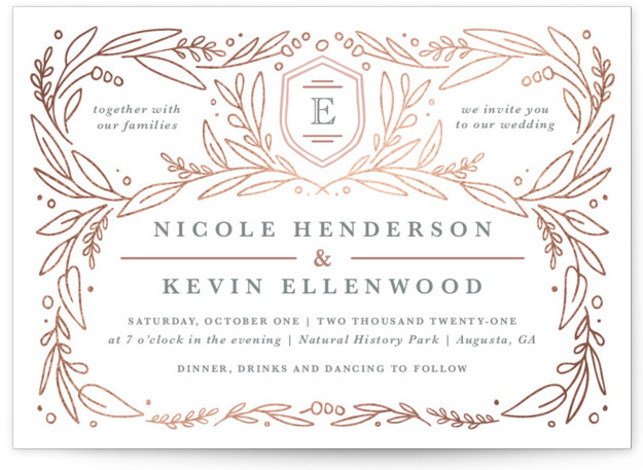 This is a landscape botanical, rosegold, white Wedding Invitations by Kristen Smith called Entwined with Foil Pressed printing on Signature in Classic Flat Card format. Organic vines and greenery entwine this wedding invite