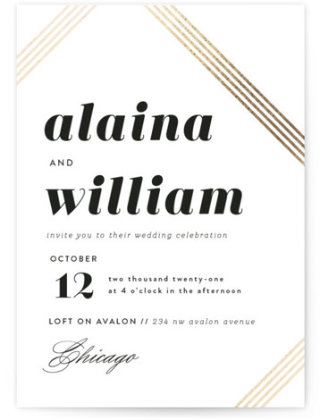 This is a portrait modern, black and white, gold Wedding Invitations by Laura Hankins called Modern Strands with Foil Pressed printing on Signature in Classic Flat Card format. Modern bold type with a touch of foil.