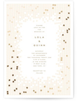 This is a beige foil stamped wedding invitation by fatfatin called Mosaic Waves with foil-pressed printing on signature in standard.