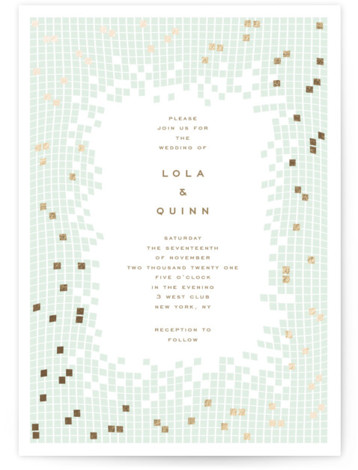 This is a portrait modern, painterly, gold, green Wedding Invitations by fatfatin called Mosaic Waves with Foil Pressed printing on Signature in Classic Flat Card format. A modern and chic design featuring a stylish mosaic pattern and a simple layout ...