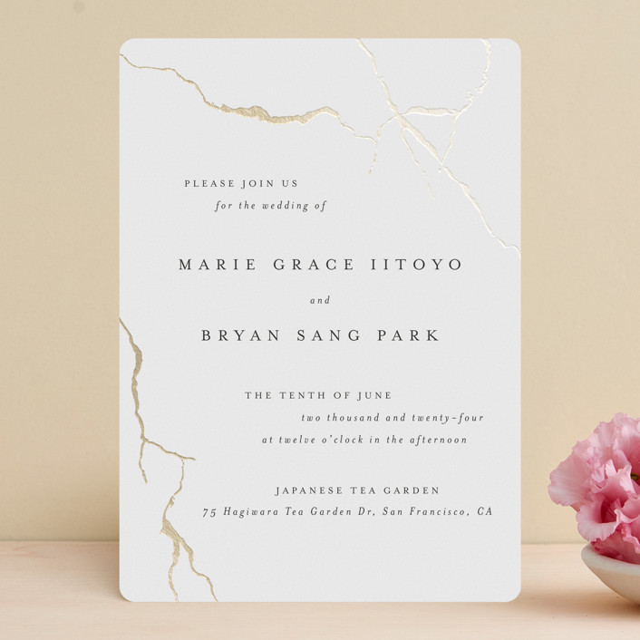 """""""kintsugi"""" - Foil-pressed Wedding Invitations in Purity by Design Lotus."""