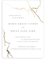 This is a white foil stamped wedding invitation by Design Lotus called kintsugi with foil-pressed printing on signature in standard.