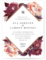 This is a pink foil stamped wedding invitation by Alethea and Ruth called Painted Peony Corners with foil-pressed printing on signature in standard.