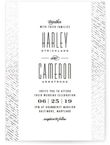 This is a portrait modern, traditional, white, silver Wedding Invitations by Hooray Creative called Ballroom Glitz with Foil Pressed printing on Signature in Classic Flat Card format. Clean, vintage inspired typography with a intricate, glitzy border!