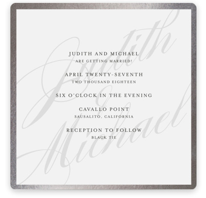 This is a square classical, elegant, simple, silver Wedding Invitations by Roxy Cervantes called Framed with Foil Pressed printing on Signature in Classic Flat Card format. This wedding invitation features the couple's name as the background with the details laying ...