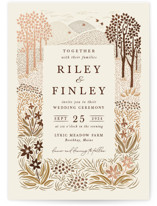 This is a beige foil stamped wedding invitation by Paper Sun Studio called In the country with foil-pressed printing on signature in standard.
