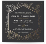 This is a grey foil stamped wedding invitation by Carolyn Nicks called Delicate Botanicals with foil-pressed printing on signature in standard.