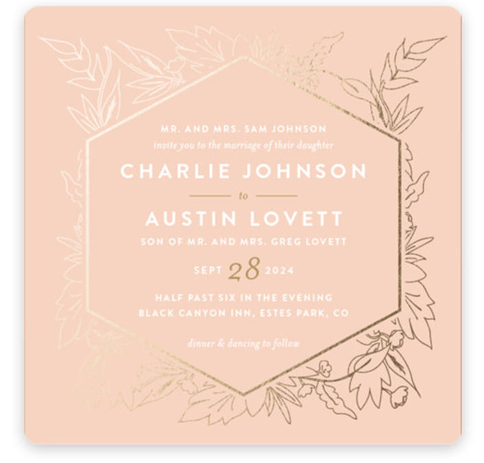 This is a square floral, metallic, modern, rustic, pink, gold Wedding Invitations by Carolyn Nicks called Delicate Botanicals with Foil Pressed printing on Signature in Classic Flat Card format. Delicately foiled botanicals frame the sophisticated typography