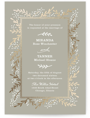 Rustic Foil Pressed Wedding Invitations Rustic Wedding