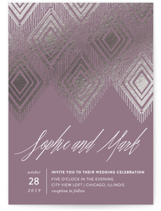 Purple wedding invitations minted gilded ikat foil pressed wedding invitations by carolyn nicks filmwisefo
