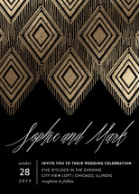 Gilded Ikat Foil-Pressed Wedding Invitations By Carolyn Nicks
