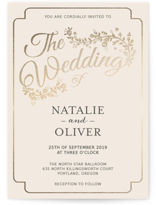 Golden Grace Foil-Pressed Wedding Invitations