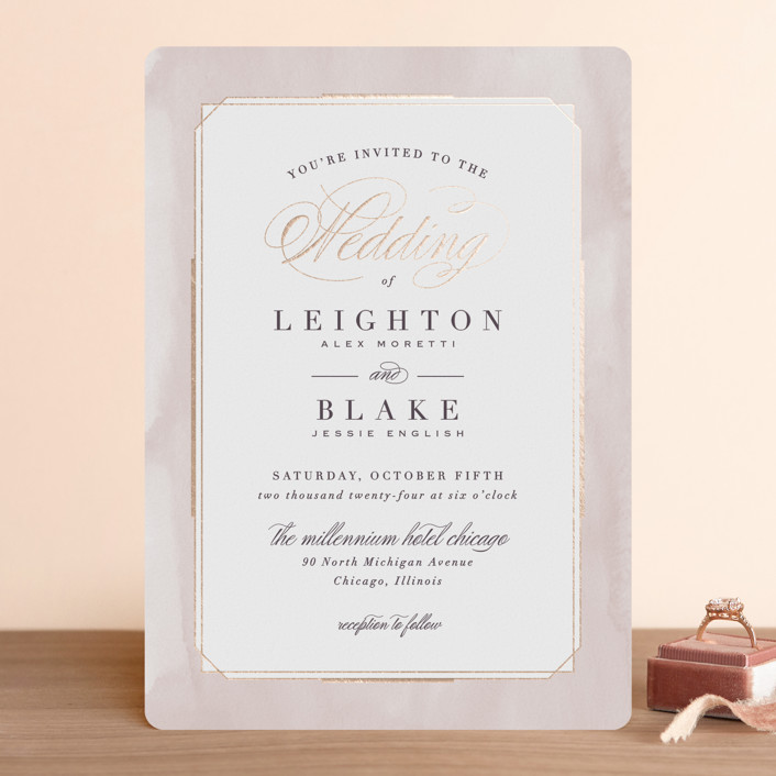 """Forever Elegant"" - Traditional Foil-pressed Wedding Invitations in Mauve by Hooray Creative."