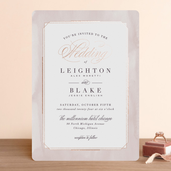 """""""Forever Elegant"""" - Traditional Foil-pressed Wedding Invitations in Mauve by Hooray Creative."""