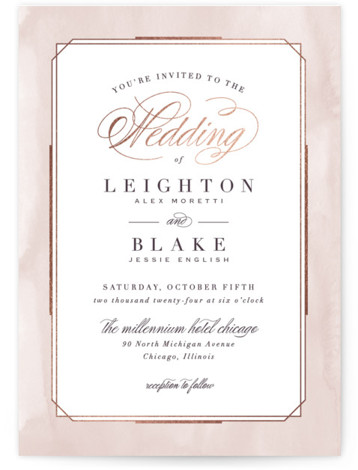 This is a portrait traditional, pink Wedding Invitations by Hooray Creative called Forever Elegant with Foil Pressed printing on Signature in Classic Flat Card format. An elegant, typographic design with subtle, textured border and rose gold accents.