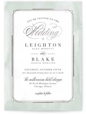 This is a portrait traditional, green, silver Wedding Invitations by Hooray Creative called Forever Elegant with Foil Pressed printing on Signature in Classic Flat Card format. An elegant, typographic design with subtle, textured border and rose gold accents.