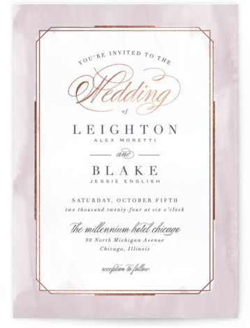 This is a portrait traditional, purple, rosegold Wedding Invitations by Hooray Creative called Forever Elegant with Foil Pressed printing on Signature in Classic Flat Card format. An elegant, typographic design with subtle, textured border and rose gold accents.