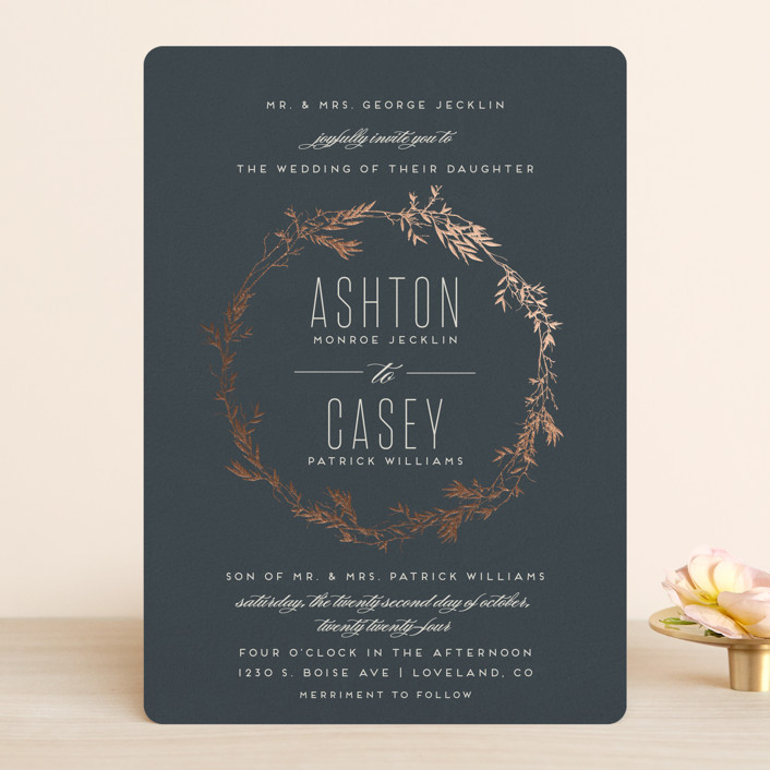 """""""Intertwined"""" - Rustic Foil-pressed Wedding Invitations in Charcoal by Carolyn Nicks."""