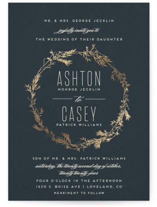 Intertwined Foil-Pressed Wedding Invitations