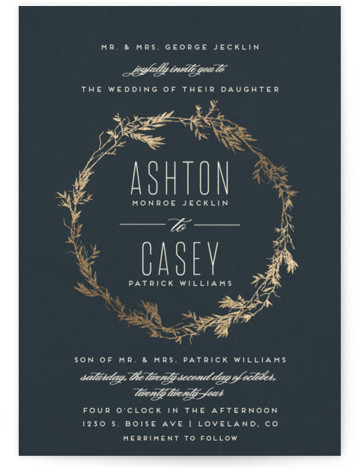 This is a portrait botanical, rustic, grey, gold Wedding Invitations by Carolyn Nicks called Intertwined with Foil Pressed printing on Signature in Classic Flat Card format. This invitation features a foiled wreath of branches which frames the couple's names