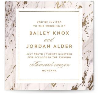 Marble Matrimony Foil-Pressed Wedding Invitations