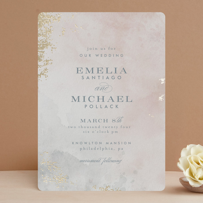 """""""Burnished"""" - Foil-pressed Wedding Invitations in Blush by Heather Cairl."""