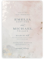 This is a pink foil stamped wedding invitation by Heather Cairl called Burnished with foil-pressed printing on signature in standard.