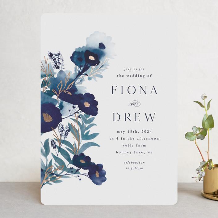 """Splendid Ink"" - Foil-pressed Wedding Invitations in Indigo by Olivia Raufman."