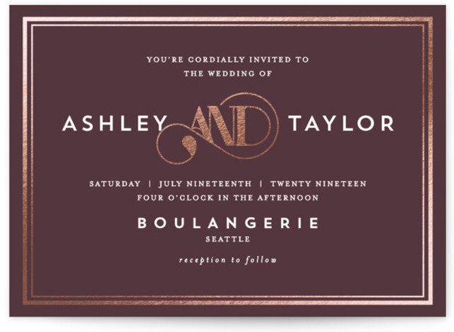 This is a landscape modern, preppy, grey, rosegold Wedding Invitations by AK Graphics called Our Gilded Love with Foil Pressed printing on Signature in Classic Flat Card format. A bright and vibrant wedding invitation featuring a pop of gilded foil. ...