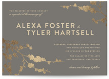 This is a grey foil stamped wedding invitation by Three Kisses Studio called In Bloom with foil-pressed printing on signature in standard.