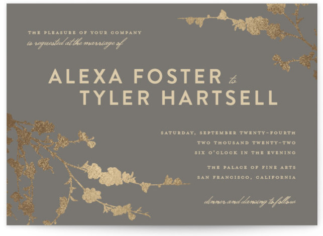 In Bloom FoilPressed Wedding Invitations by Three Kisses Studio – Studio Cards Wedding Invitations