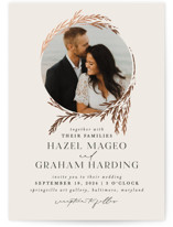 This is a beige foil stamped wedding invitation by Erin L. Wilson called Locket with foil-pressed printing on signature in standard.