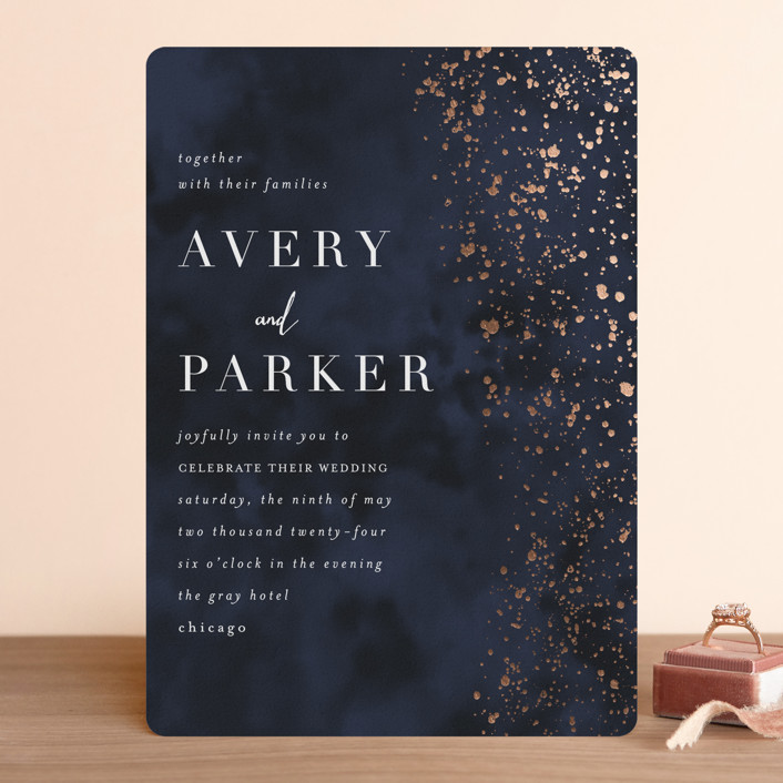 """glistening stardust"" - Modern Foil-pressed Wedding Invitations in Midnight by Angela Marzuki."