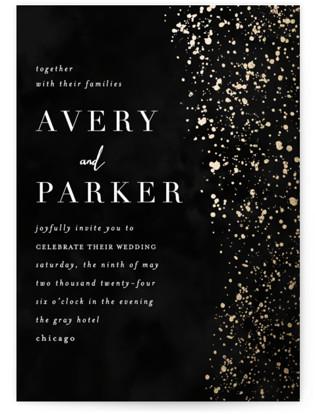 Glistening Stardust Foil-Pressed Wedding Invitations