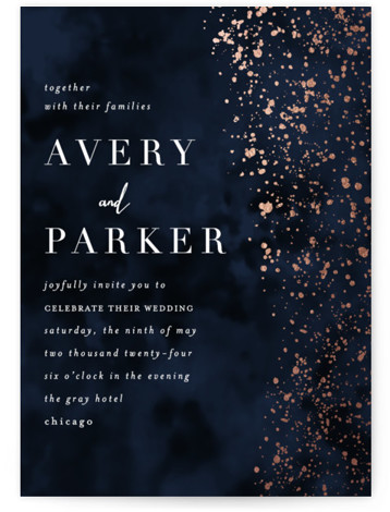 This is a portrait modern, blue, rosegold Wedding Invitations by Angela Marzuki called glistening stardust with Foil Pressed printing on Signature in Classic Flat Card format. Glistening star like pattern and textured background reminiscent of a moody night sky