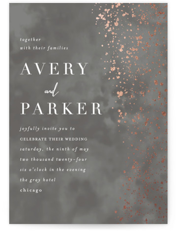 This is a portrait modern, grey Wedding Invitations by Angela Marzuki called glistening stardust with Foil Pressed printing on Signature in Classic Flat Card format. Glistening star like pattern and textured background reminiscent of a moody night sky