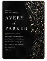 This is a black foil stamped wedding invitation by Angela Marzuki called glistening stardust with foil-pressed printing on signature in standard.