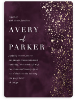 This is a purple foil stamped wedding invitation by Angela Marzuki called glistening stardust with foil-pressed printing on signature in standard.