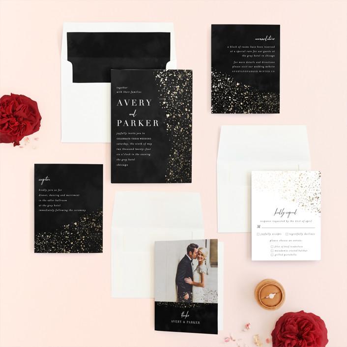 Glistening stardust foil pressed wedding invitations by angela invitation suite stopboris Gallery
