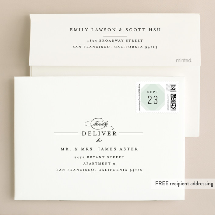 Modern Angle Foil-Pressed Wedding Invitations By Kristie