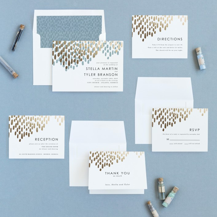 Modern Dash Foil-Pressed Wedding Invitations by Makewells | Minted