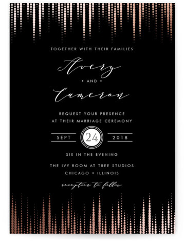 This is a portrait classical, elegant, formal, metallic, vintage, rosegold, black Wedding Invitations by Lehan Veenker called Symphonic with Foil Pressed printing on Signature in Classic Flat Card format. A wedding invitation inspired by symphonic sound waves. The sound wave ...