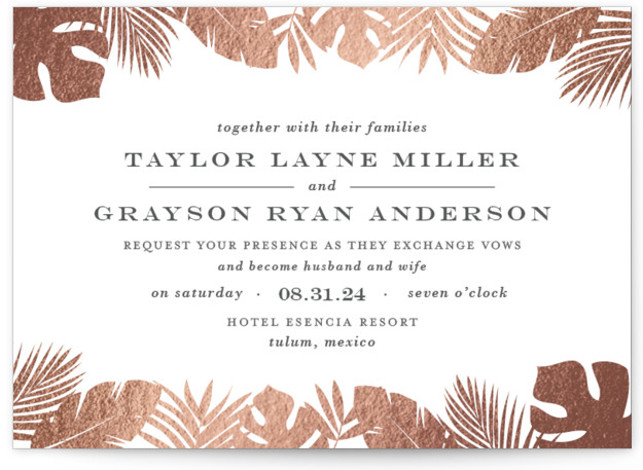 This is a landscape botanical, rosegold Wedding Invitations by Lauren Chism called Gilded Palm with Foil Pressed printing on Signature in Classic Flat Card format. Gilded palm trees creates an ethereal frame for this elegant destination wedding invitation.