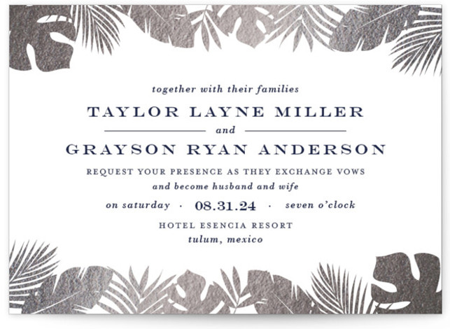 This is a landscape botanical, silver Wedding Invitations by Lauren Chism called Gilded Palm with Foil Pressed printing on Signature in Classic Flat Card format. Gilded palm trees creates an ethereal frame for this elegant destination wedding invitation.