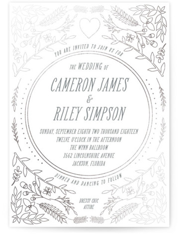 This is a portrait botanical, grey Wedding Invitations by Annie Walker called Fairytale with Foil Pressed printing on Signature in Classic Flat Card format. This whimsical design features twigs and nature for a romantic couples wedding.