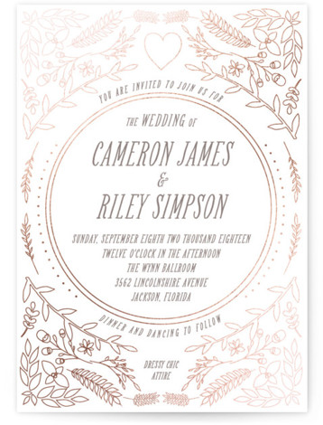 This is a portrait botanical, white Wedding Invitations by Annie Walker called Fairytale with Foil Pressed printing on Signature in Classic Flat Card format. This whimsical design features twigs and nature for a romantic couples wedding.